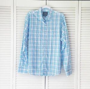 BONOBOS Blue Plaid Standard Fit Button Down Shirt